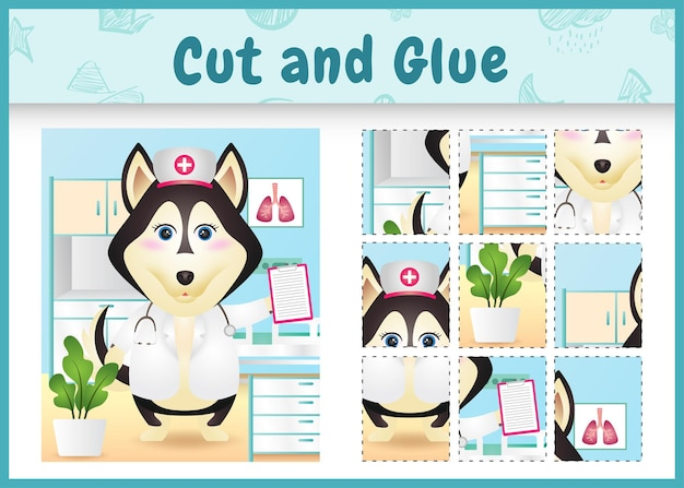 Jogo de tabuleiro infantil cortado e colado com um cão husky fofo usando enfermeiras fantasiadas