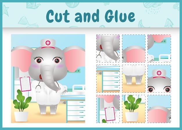 Jogo de tabuleiro infantil cortado e colado com um elefante fofo usando enfermeiras fantasiadas