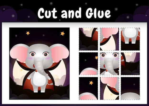 Jogo de tabuleiro infantil cortado e colado com um elefante fofo usando fantasia de drácula do dia das bruxas