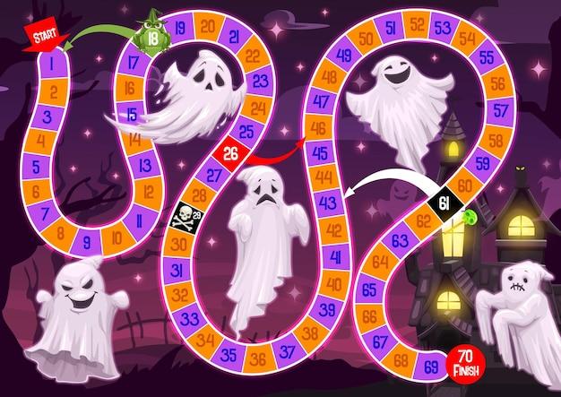 Jogo de tabuleiro infantil de halloween com fantasmas engraçados