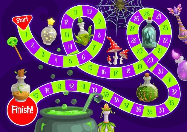 Jogo de tabuleiro infantil de halloween com poções mágicas. jogo de corrida para crianças, crianças rolam e movem o modelo de jogo de tabuleiro com elixires mágicos de vetor de desenhos animados, cogumelo agárico com mosca e caldeirão de bruxa com poção fervente