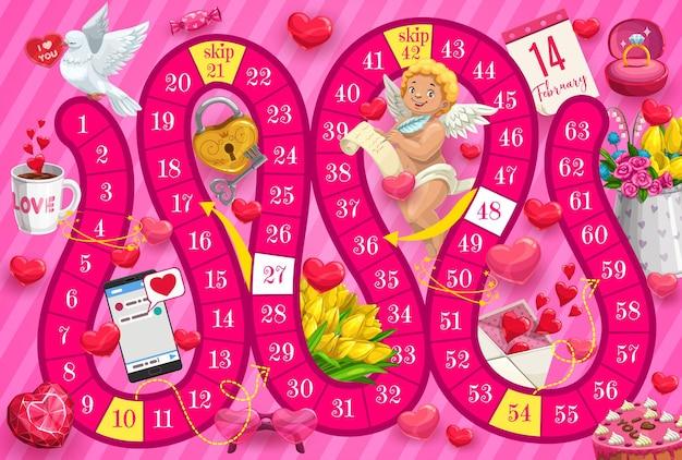 Jogo de tabuleiro infantil do dia dos namorados com cupido e presentes românticos