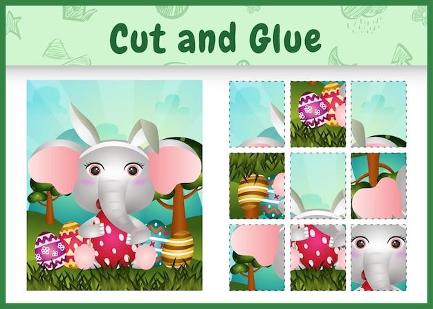 Jogo de tabuleiro infantil para cortar e colar o tema da páscoa com uma linda faixa de cabeça com orelhas de coelho e elefante abraçando ovos