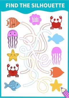 Jogo de tabuleiro infantil para pré-escolares e alunos do ensino fundamental vida subaquática e animais marinhos.