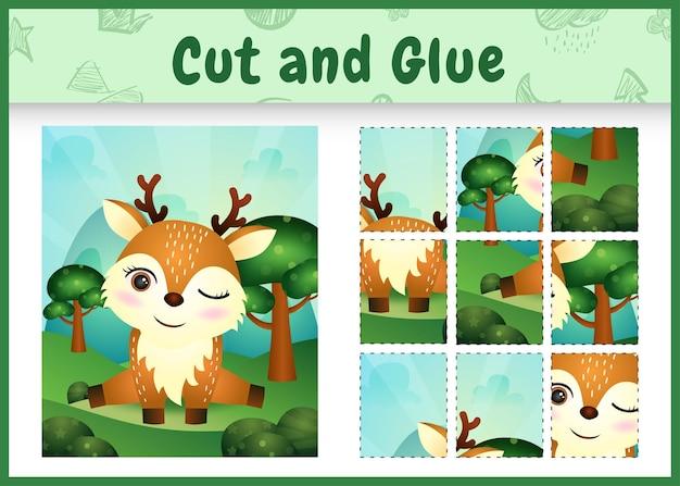 Jogo de tabuleiro infantil recortado e colado com um cervo fofo
