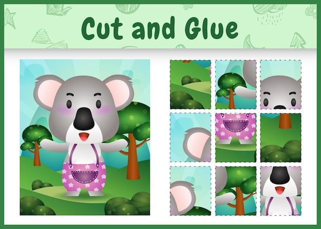 Jogo de tabuleiro infantil recortado e colado com um coala fofo usando calças