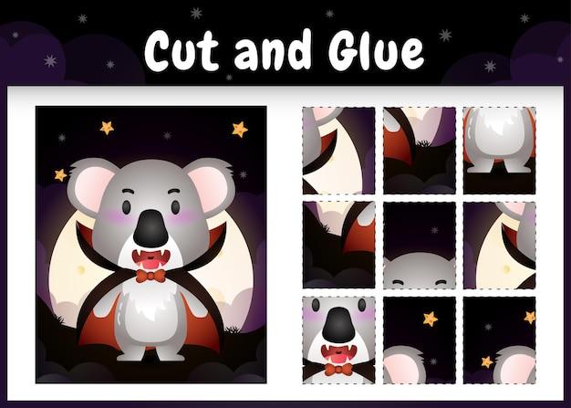 Jogo de tabuleiro infantil recortado e colado com um coala fofo usando fantasia de drácula do dia das bruxas