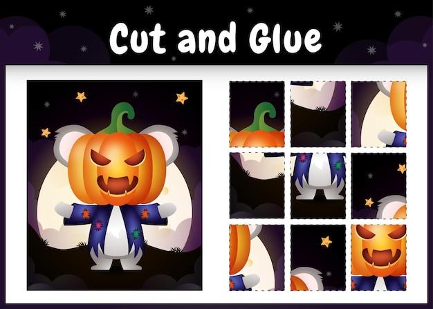 Jogo de tabuleiro infantil recortado e colado com um coala fofo usando fantasia de halloween