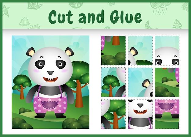 Jogo de tabuleiro infantil recortado e colado com um panda fofo usando calças