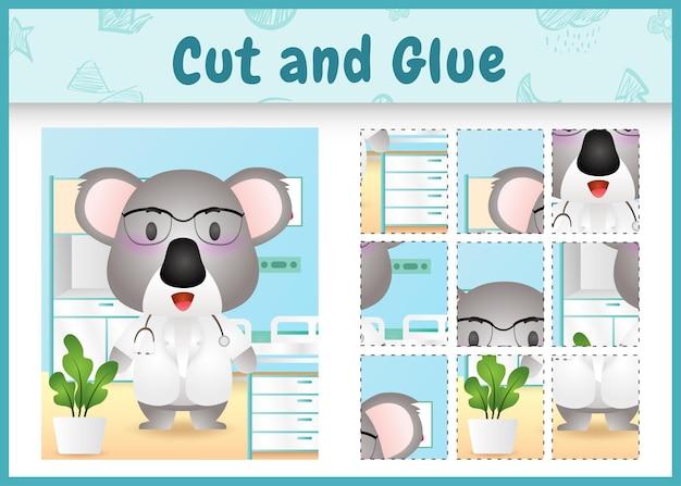 Jogo de tabuleiro infantil recortado e colado com um personagem de coala médico fofo