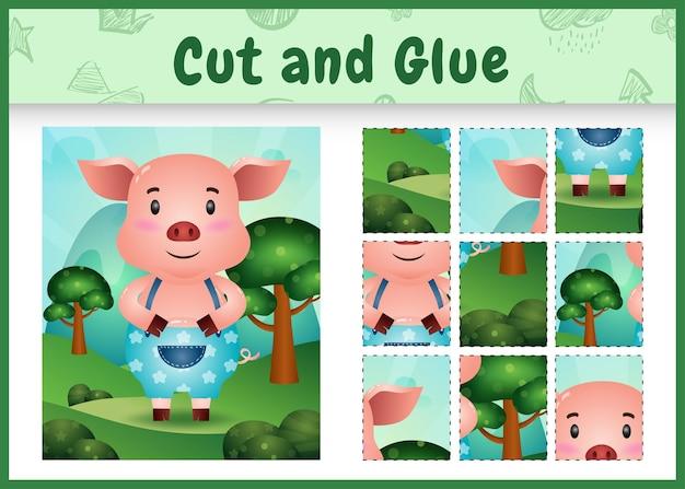 Jogo de tabuleiro infantil recortado e colado com um porco fofo usando calças