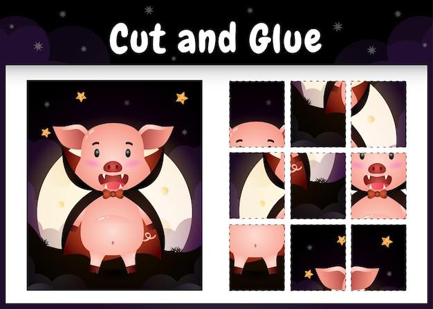 Jogo de tabuleiro infantil recortado e colado com um porco fofo usando fantasia de drácula do dia das bruxas
