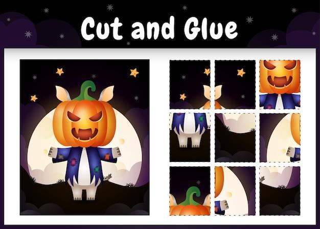 Jogo de tabuleiro infantil recortado e colado com um rinoceronte fofo usando fantasia de halloween