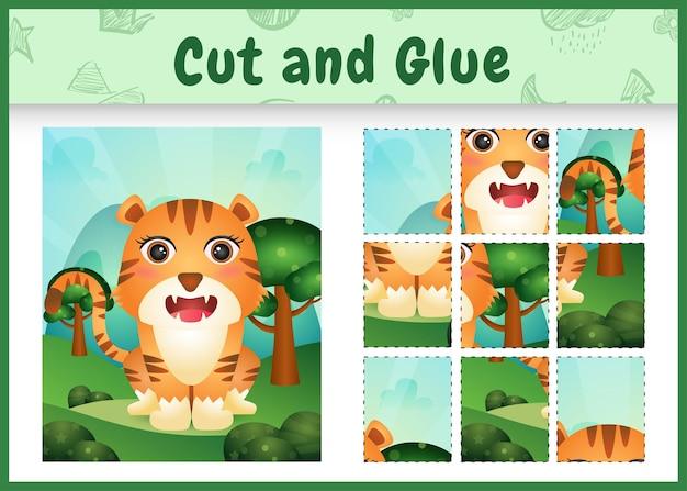 Jogo de tabuleiro infantil recortado e colado com um tigre fofo