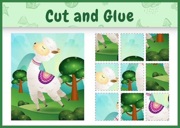 Jogo de tabuleiro infantil recortado e colado com uma linda alpaca
