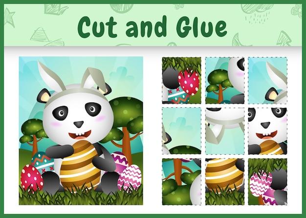 Jogo de tabuleiro infantil recortando e colando o tema da páscoa com um panda fofo usando tiaras com orelhas de coelho abraçando ovos