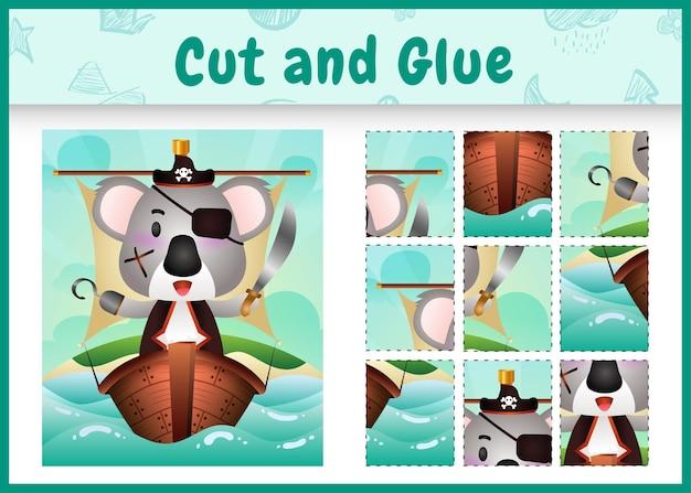 Jogo de tabuleiro infantil, recortar e colar temático da páscoa com um lindo personagem coala pirata no navio