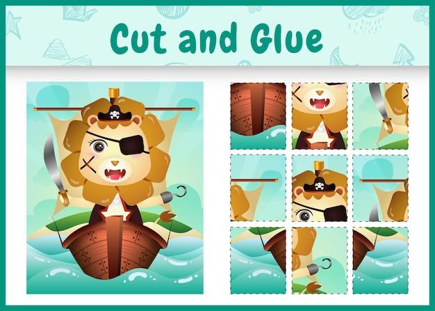 Jogo de tabuleiro infantil recortar e colar temático da páscoa com um lindo personagem de leão pirata no navio