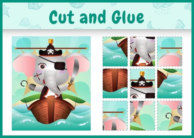 Jogo de tabuleiro infantil recortar e colar temático da páscoa com um personagem de elefante pirata fofo no navio