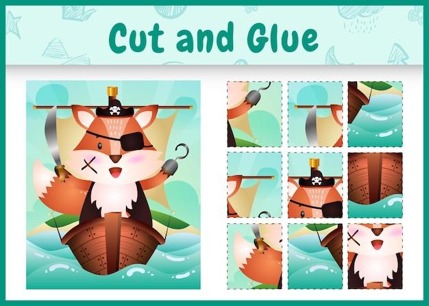 Jogo de tabuleiro infantil recortar e colar temático da páscoa com um personagem fofo pirata raposa no navio