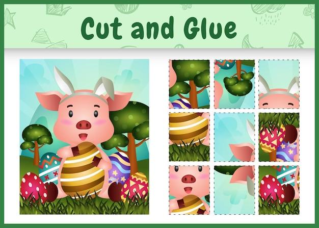 Jogo de tabuleiro infantil recortar e colar temático da páscoa com um porco fofo usando tiaras com orelhas de coelho abraçando ovos