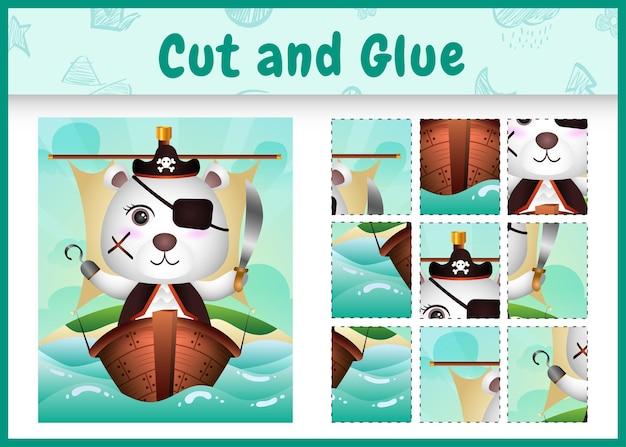 Jogo de tabuleiro infantil recortar e colar temático da páscoa com um urso polar pirata fofo no navio