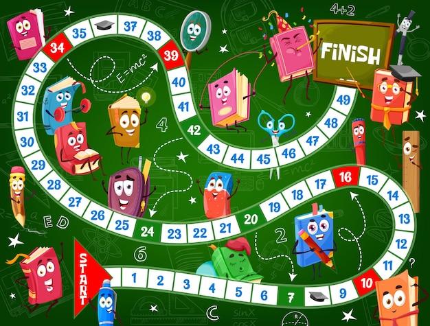 Jogo de tabuleiro para crianças, livros e mochilas escolares