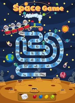 Jogo de tabuleiro para crianças no modelo de estilo do espaço sideral