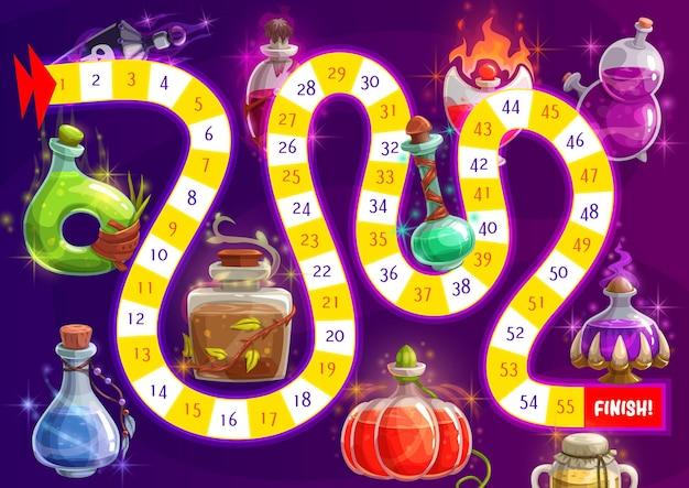 Jogo de tabuleiro, quebra-cabeça ou labirinto com poção mágica