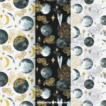 Jogo de testes padrões lua decorativo aquarela