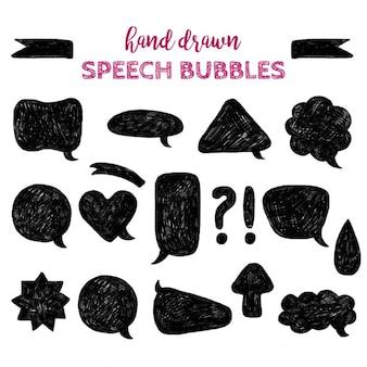 Jogo de texturas desenhadas mão scribble de pinceladas manchas de tinta jogo do vetor de bolhas do discurso