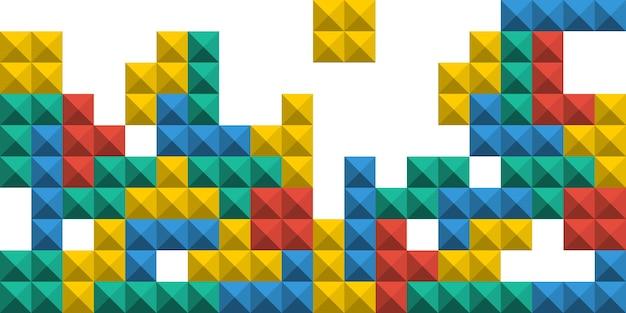 Jogo de tijolos de pixel tetris. fundo colorido do jogo tetris. ilustração vetorial