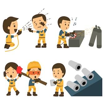 Jogo, de, trabalhador construção