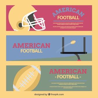 Jogo de três bandeiras de futebol americano de estilo retro