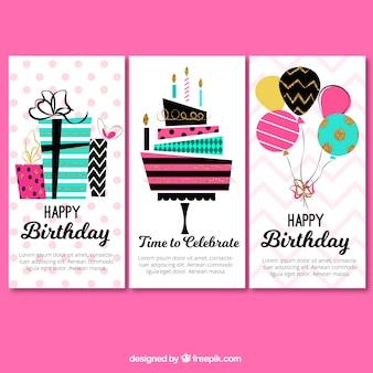 Jogo de três cumprimentos coloridos do aniversário