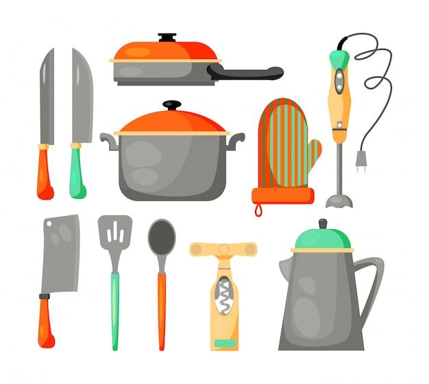 Jogo, de, utensílios cozinha