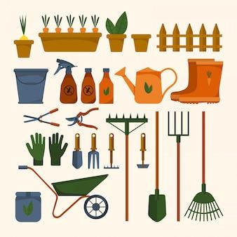 Jogo de várias ferramentas de jardim em um fundo branco isolado. equipamento para agricultura. ilustração design plano de objetos coloridos. regador, pá, balde. e ilustração conservada em estoque.