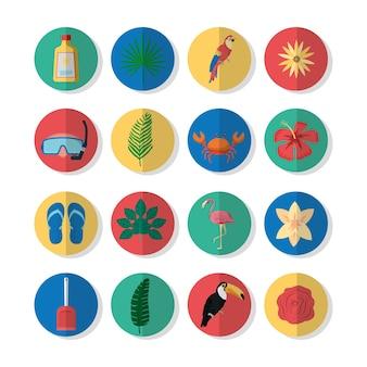 Jogo, de, verão, ícones