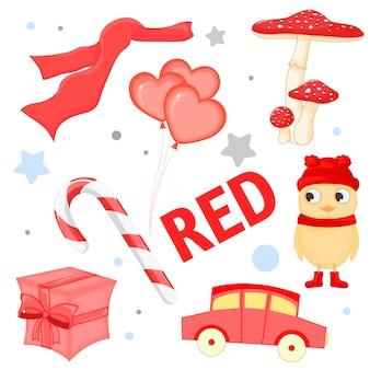 Jogo, de, vermelho, natal, elementos