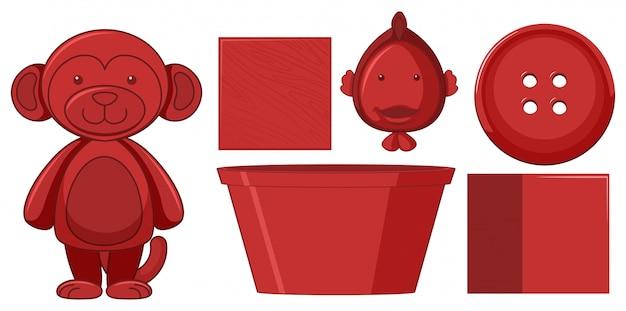 Jogo, de, vermelho, objetos