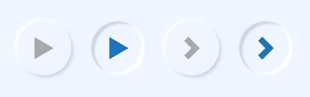 Jogo de vetor e botão de seta definidos no estilo de neumorfismo.
