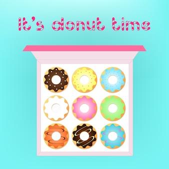 Jogo de vetores donut em um fundo claro