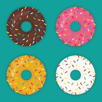 Jogo de vetores donut num estilo plano moderno