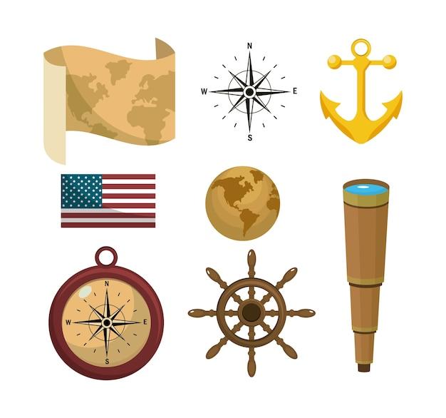 Jogo, de, viagem, ícones