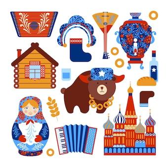 Jogo de viagens da rússia com ícones de elementos nacionais vintage conjunto ilustração vetorial isolado