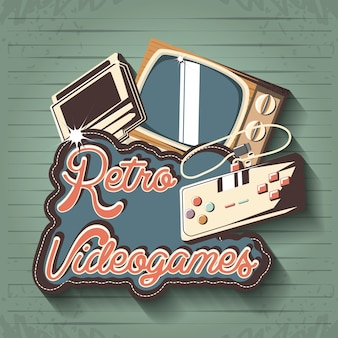Jogo de vídeo retrô com tv vector design ilustração