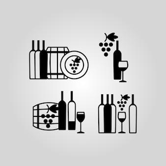 Jogo, de, vinho, ícones
