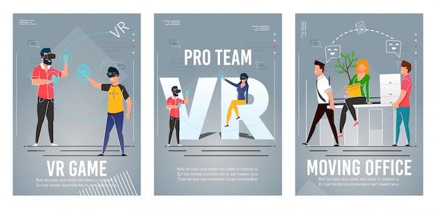 Jogo de vr, pro team, conjunto de cartaz plana de escritório em movimento