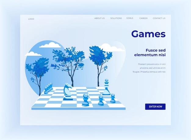 Jogo de xadrez estratégico cartoon landing page