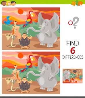 Jogo diferenças para crianças com animais